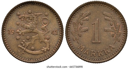 Finland Finnish Suomi coin 1 one markka 1941, lion with sword divides date, sheath below, value flanked by pine branches with cones,