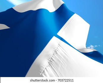Finland flag. 3D Waving flag design. Blue and white flag. The national symbol of Finland. Finnish National colors. National flag of Finland for background sign on smooth silk.