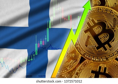 Finland flag and cryptocurrency growing trend with many golden bitcoins