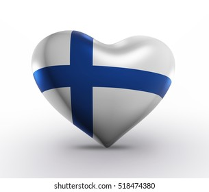 Finland Flag Heart Shape, Finnish Background (3D Render)