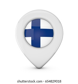 Finland flag location marker icon. 3D Rendering