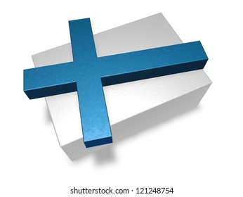 finland flag on white background - 3d illustration