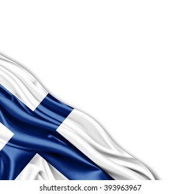 Finland flag of silk with copyspace for your text or images and White background