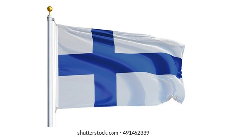 Finland flag waving on white background, close up, isolated with clipping path mask alpha channel transparency