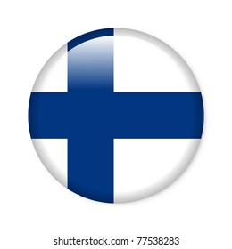 Finland - glossy button with flag