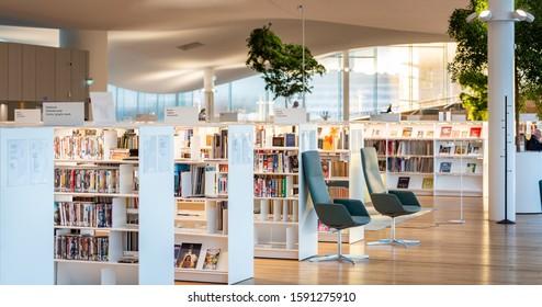 Finland, Helsinki - December 8th 2019: Oodi library in helsinki. Oodi is Helsinki's new Central Library. Finland