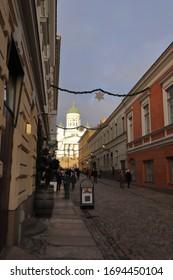 "FINLAND, HELSINKI - JANUARY 04, 2020: View from the street ""Sofiankatu"" to the Helsinki Cathedral"