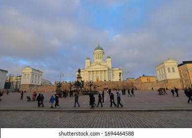 FINLAND, HELSINKI - JANUARY 04, 2020: View on Senate Square and Helsinki Cathedral