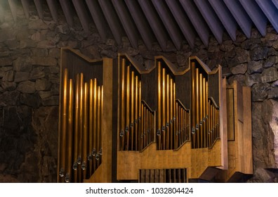 Finland, Helsinki, January 2018: organ in the concert hall at the Temppeliaukion Church in the rock