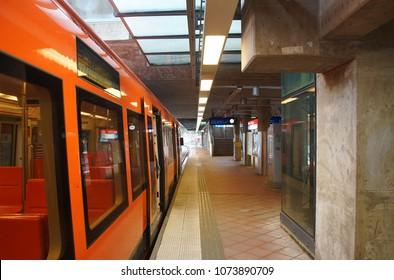 FINLAND, HELSINKI - March 25, 2018: Fragment of the interior of the station Kontula metro in Helsinki