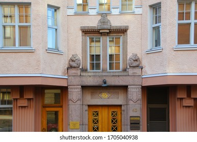 FINLAND, HELSINKI - MAY 01, 2019: A fragment of the decoration of the facade of a residential building in the style of national romanticism on one of the central streets of Helsinki