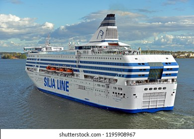 FINLAND, HELSINKI - SEPT 24, 2018: MS Silja Serenade, cruiseferry owned by Estonian shipping company Tallink Group, operated on route connecting Helsinki, Finland to Stockholm, Sweden via Mariehamn