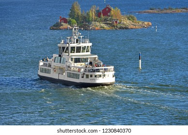 FINLAND, HELSINKI - SEPT 24, 2018: Helsinki City Transport maintains all-year-round ferry link from Suomenlinna (Sveaborg) fortress to Helsinki. Autumn
