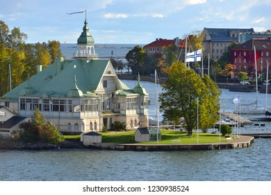FINLAND, HELSINKI - SEPT 24, 2018: NJK, oldest registered yacht club in Finland on Blekholmen island