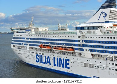 FINLAND, HELSINKI - SEPT 24, 2018: MS Silja Serenade, cruiseferry, near island of Helsinki archipelago (fragment)