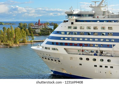 FINLAND, HELSINKI - SEPT 24, 2018: MS Silja Serenade, cruiseferry, near islands of Helsinki archipelago (fragment)