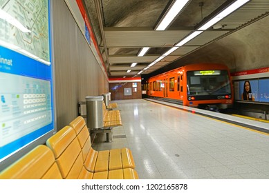 FINLAND, HELSINKI - SEPT 26, 2018: Central Railway Station metro station (Rautatientorin), station on Helsinki Metro. Train departing