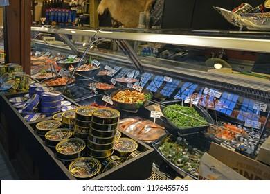 FINLAND, HELSINKI - SEPT 27, 2018: Old City Market Hall. Fish, caviar, shrimp