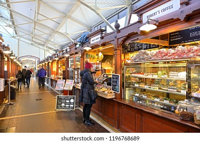FINLAND, HELSINKI - SEPT 27, 2018: Old City Market Hall. Robert's Coffee