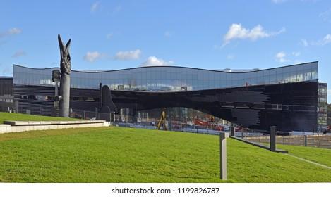 FINLAND, HELSINKI - SEPT 27, 2018: Helsinki Central Library 2018 - library of new era. Construction