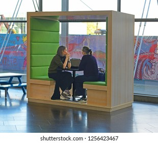 FINLAND, HELSINKI - SEPT 27, 2018: Current office in Sanomatalo. Media Piazza offers meeting point for city dwellers and media