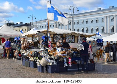 FINLAND, HELSINKI - SEPT 28, 2018: Market Square (Kauppatori). Finnish souvenirs and gifts