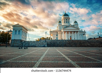Finland, Helsinki, view of the Cathedral and Senate Square at sunset. Beautiful city landscape