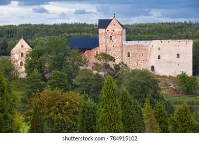 Finland heritage in Aland islands. Kastelholm Slott rebuilt castle. Landmark