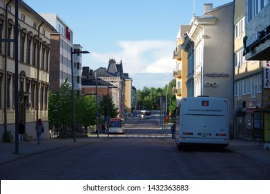 Finland — July 12 2016: Buses on the road in city center of Oulu