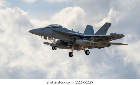 JYVÄSKYLÄ, FINLAND - JUNE 16, 2018: Finnish Air Force 100th Anniversary Airshow at Tikkakoski airport. Electronic warfare aircraft Boeing EA-18G Growler landing.
