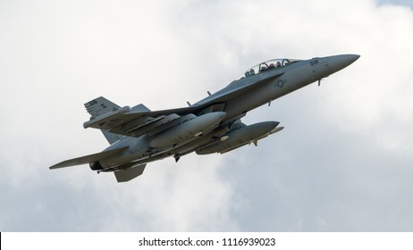 JYVÄSKYLÄ, FINLAND - JUNE 16, 2018: Finnish Air Force 100th Anniversary Airshow at Tikkakoski airport. Electronic warfare aircraft Boeing EA-18G Growler flying.