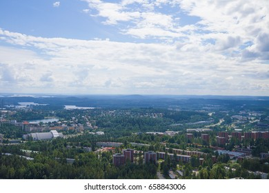 Finland lake view from tower. Summer bright day.