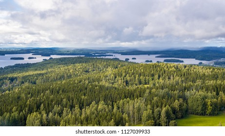 Finland, lakes and forests - a view from the Puijo tower in Kuopio