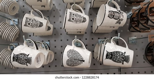 Finland, Lappeenranta 10,11,2018 Cups with painted owls in the store