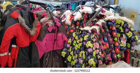 Finland, Lappeenranta 10,11,2018 Finnish children's winter overalls in the store