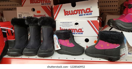 Finland, Lappeenranta 10,11,2018 Kuoma boots in the store