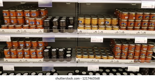 Finland, Lappeenranta 10/28/2018 Banks with different caviar in a fish store