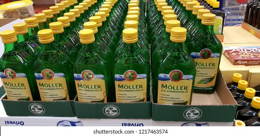 Finland, Lappeenranta 10/28/2018 Fish oil in the vitamin section in the supermarket