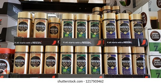 Finland, Lappeenranta 10/28/2018 Packages of coffee on the shelves in the supermarket