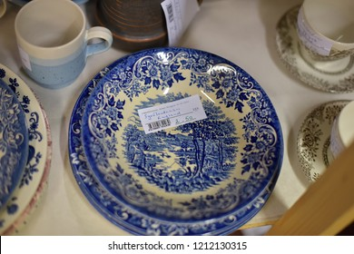 Finland, Lappeenranta 28,08,2015 Plates of antique English porcelain in a commission shop