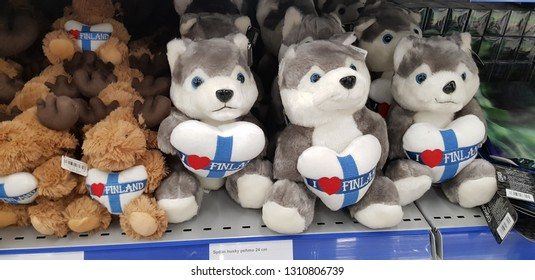 Finland, Lappeenranta, 29,10,2018 Finnish souvenirs toy huskies on sale in the store