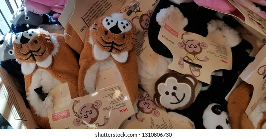 Finland, Lappeenranta, 29,10,2018 Slippers with muzzles of little animals on sale in the store