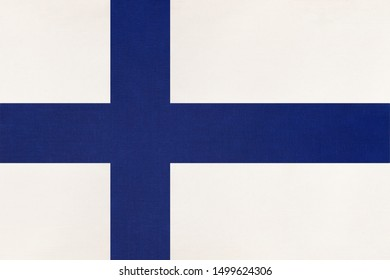 Finland national fabric flag, textile background. Symbol of international european scandinavian world country. Finnish state official sign,
