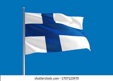 Finland national flag waving in the wind on a deep blue sky. High quality fabric. International relations concept.