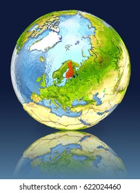 Finland on globe with reflection. Illustration with detailed planet surface. Elements of this image furnished by NASA.