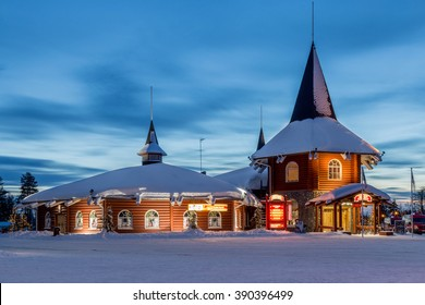 FINLAND, ROVANIEMI,SANTA CLAUS VILLAGE, LAPLAND - MARCH 3, 2016 : the blue hour before sunset in santa clause village in lapland on the arctic circle in winter with snow