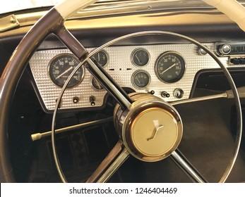 Finland, Savonlinna, 21 October 2018. vintage car Studebaker, close-up steering wheel, dashboard, speedometer, various sensors, levers, radio