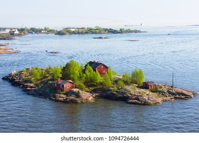 Finland, small houses on an island in the Baltic Sea