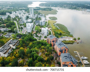 Finland Turku city Aerial with Aura River / Waterfront