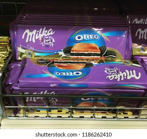 FINLAND, TURKU - JULY 06, 2016: Chocolate Milka Oreo lies on the shelf in the store